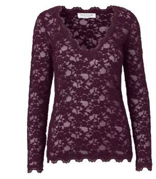 Rosemunde Mulberry Long Sleeve Lace Top - X-LARGE - Purple