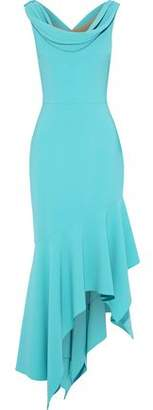 Reem Acra Asymmetric Draped Crepe Midi Dress