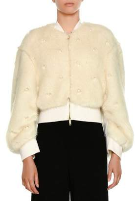 Stella McCartney Zip-Front Faux-Fur Bomber Jacket w/ Allover Pearlescent Trim