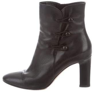 Gianvito Rossi Leather Round-Toe Ankle Boots