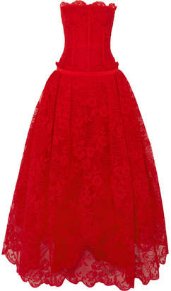Lyon Strapless Corded Lace And Tulle Gown - Red