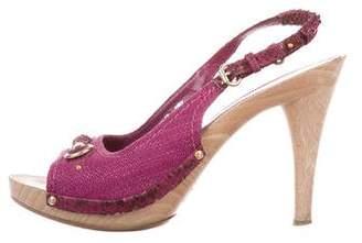 Christian Dior Woven Slingback Sandals