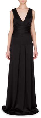Victoria Beckham Sleeveless Seamed-Waist A-Line Gown Black