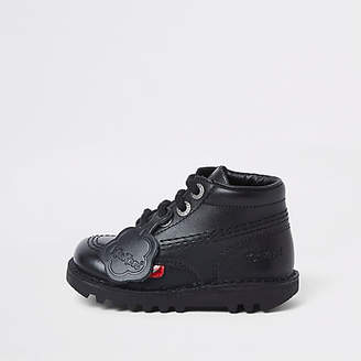 Kickers Mini kids black lace-up boots