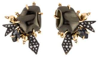 Alexis Bittar Crystal Encrusted Starburst Pearl Button Earring
