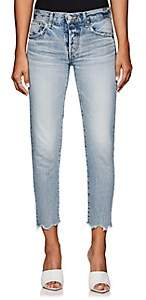 Moussy VINTAGE Women's Distressed Mid-Rise Tapered Jeans-Blue
