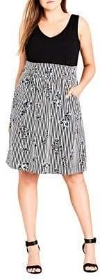 City Chic Plus Stripe and Floral A-Line Dress