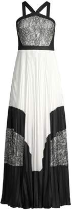 BCBGMAXAZRIA Colorblock Lace & Pleated Halter Maxi Dress