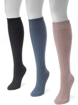 Muk Luks 3-pk. Women's Cable-Knit Knee-High Boot Socks