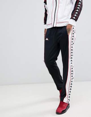 Kappa joggers with popper side fastening and logo taping in black