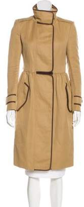 Burberry Leather-Trimmed Long Coat