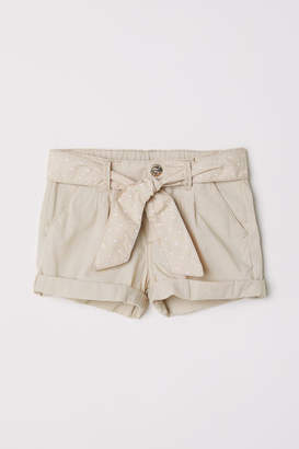 H&M Cotton Shorts with Belt - Beige