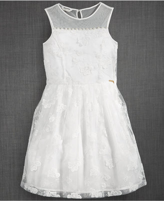 GUESS Illusion-Neck Lace Party Dress, Big Girls (7-16) $59 thestylecure.com