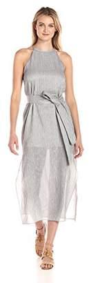 Halston Women's High Neck Cami Dress with Sash