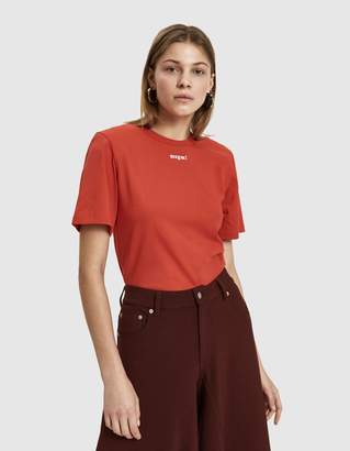 MSGM Logo T-Shirt Bodysuit in Red