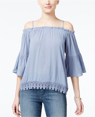Crave Fame Juniors' Lace-Trim Off-The-Shoulder Top $34 thestylecure.com