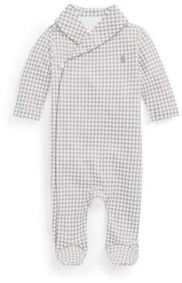 Ralph Lauren Childrenswear Long-Sleeve Shawl-Collar Houndstooth Footie Pajamas, Gray, Size 3-9 Months