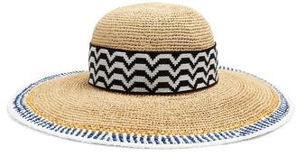 Contrast-trim straw hat