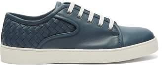 Bottega Veneta Dodger Intrecciato Leather Low Top Trainers - Mens - Blue Multi