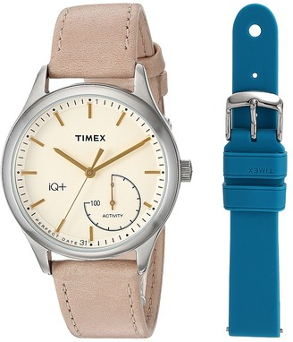 Timex - IQ+ Move Leather Strap with Extra Silicone Strap Watches $149 thestylecure.com