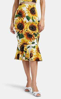 Dolce & Gabbana Women's Sunflower-Print Stretch-Silk Skirt - White