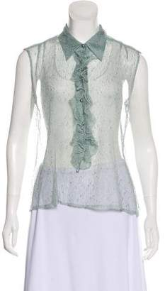 Chanel Lace Ruffle-Trimmed Top