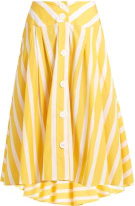 Thierry Colson Romane striped cotton-poplin skirt