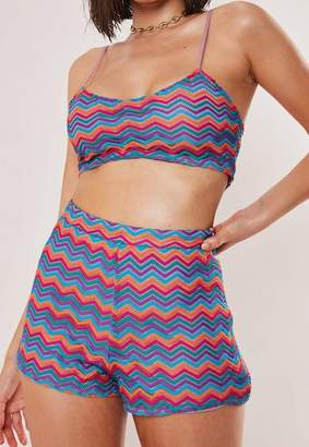 Missguided Pink Chevron Knit Bralet And Shorts Co Ord Set