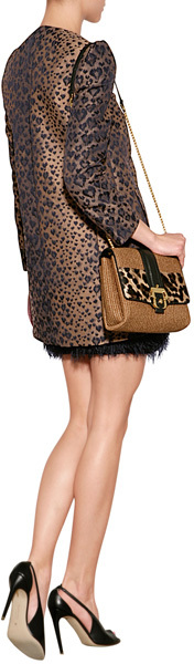 RED Valentino Jacquard Leopard Print Coat with Bow