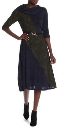 Robbie Bee Colorblocked Long Sleeve Midi Dress