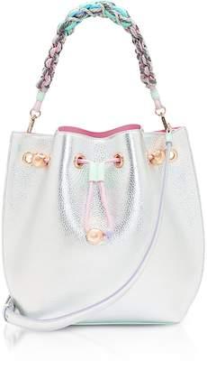 Sophia Webster Silver & Pastel Metallic Leather Romy Mini Bucket Bag