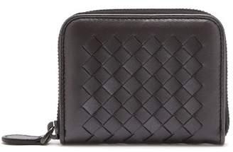 Bottega Veneta Intrecciato Zip Around Leather Wallet - Womens - Silver