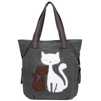 87d5290144 EGOGO Women s Canvas Handbag Cute Cat Totes Shoulder Bag Shopper Hobo Bag  E523-4