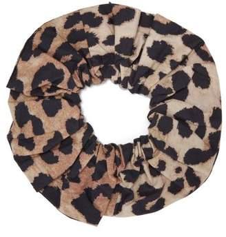 Ganni Leopard Print Cotton Hair Scrunchie - Womens - Brown