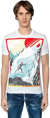 DSQUARED2 Skiing Printed Cotton Jersey T-Shirt