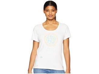 Life is Good Flower Sun Crusher Scoop Neck T-Shirt