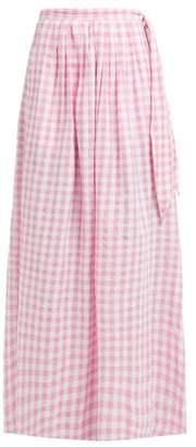 Anaak - Devika Tie Waist Gingham Cotton Skirt - Womens - Pink Print