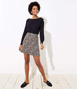 LOFT Tall Leopard Jacquard Pocket Skirt