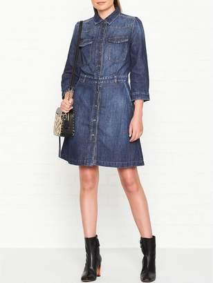 7 For All Mankind Victoria Denim Long Sleeve Dress - Blue