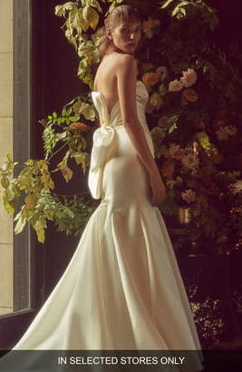 Monique Lhuillier Bliss Bow Back Detail Strapless Satin Dress