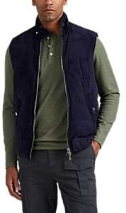 Brunello Cucinelli MEN'S REVERSIBLE SUEDE & TECH-TWILL DOWN VEST - NAVY SIZE S