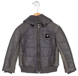 Armani Junior Boys' Leather Puffer Jacket