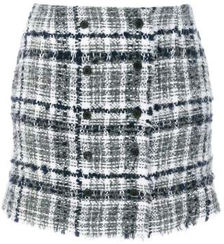 Thom Browne Front-buttoned Reflective Tweed Mini Skirt