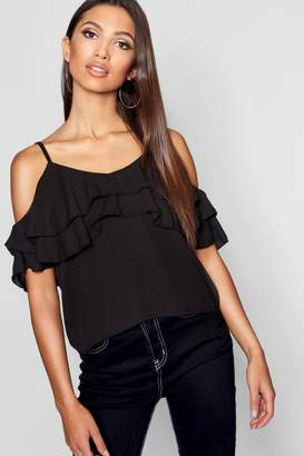 boohoo Double Ruffle Cold Shoulder Blouse