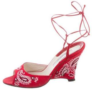Brian Atwood Embroidered Canvas Wedges