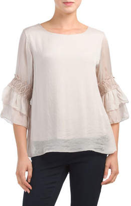 Made In Italy Silk Crochet Blouse
