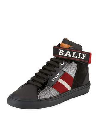 Bally Men's Heros Snake-Trim High-Top Sneakers with Ankle Grip-Strap
