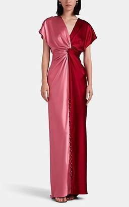 Prabal Gurung Women's Twisted Colorblocked Silk Satin Gown - Pink