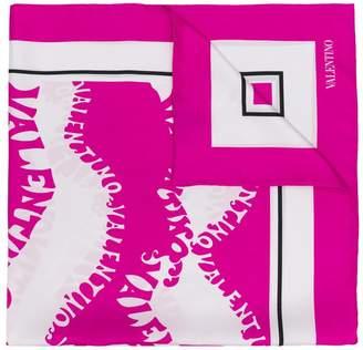 Valentino logo embroidered scarf