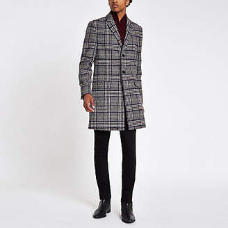 River Island Grey check wool blend overcoat